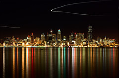 Seattle Skyline (.Bala) Tags: seattle longexposure light skyline bulb reflections nikon nightshot streak alki alkibeach d40 50mmf18ais rotatedandcropped