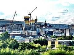 the borg (Harry Halibut) Tags: park panorama tower clock cheese buildings town hall construction borg sheffield norfolk images cranes grater allrightsreserved sheffieldbuildings colourbysoftwarelaziness sheff080824340a imagesofsheffield andrewpettigrew sheffieldarchitecture