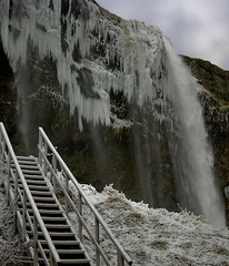 Seljalandsfoss Stairs (cloesner) Tags: winter cliff snow ice stairs landscape waterfall iceland steps icicles seljalandsfoss