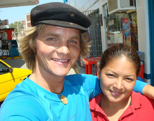 Me and the gas station girl. Chiclayo, Peru.