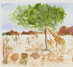 Giraffes at Phoenix Zoo (watercolor)
