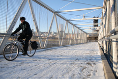 Riding across the railroad bridge near Esplanade-1