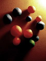 one green (Maʝicdölphin) Tags: blue red macro green canon circles balls powershot clay playdoh a590