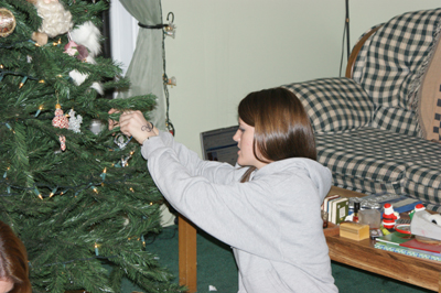 Heather decorating tree