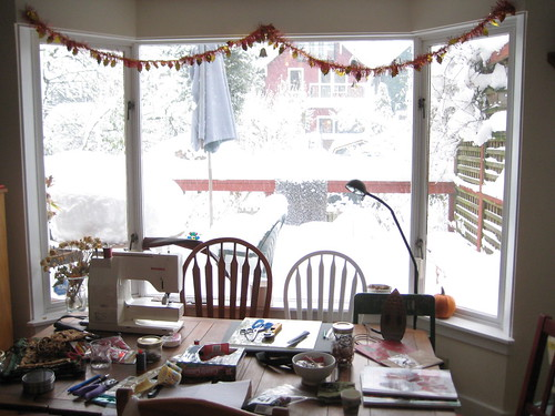 Sewing Inside, Snow Outside