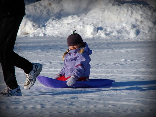 Sledding on the Lake