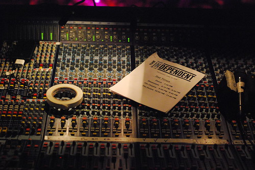 set times, mixing board