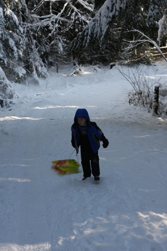 Pulling Sled up the hill