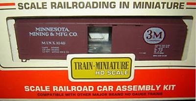 HO SCALE TRAIN MINIATURE 3M MINNESOTA MINING /& MFG 40/' WOOD BOX CAR KIT