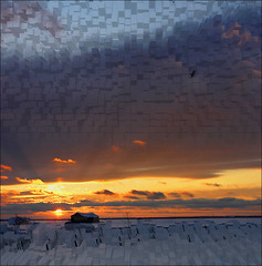 Canadian Sunset at 12 Fahrenheit (NaPix -- (Time out)) Tags: winter sunset red sky orange snow canada tree bird clouds farmhouse landscape image explore icecubes laurentians explore1 visiongroup napix