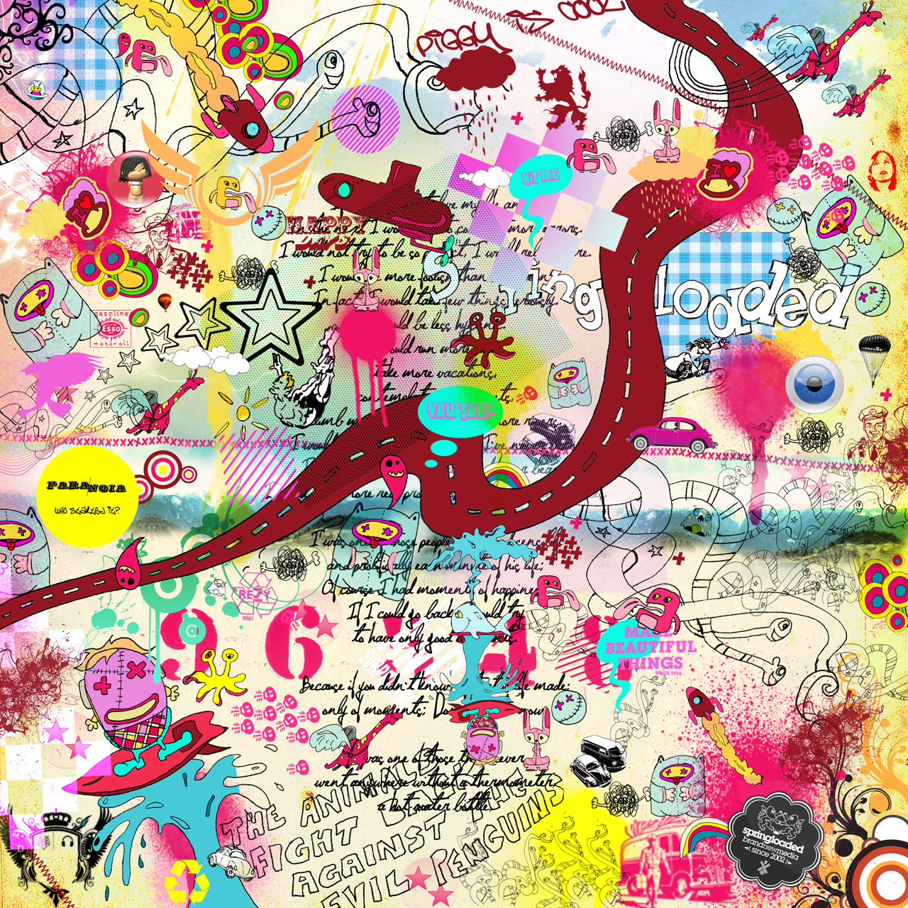 Tagged blue, colour, crazy world, design, desktop wallpaper, doodles,