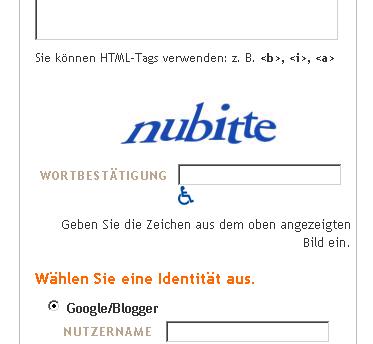 """sächsisches"" Captcha bei Blogger.com"