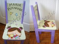 CADEIRINHA MARIA FERNANDA (Imer atelie) Tags: flores verde brasil minas maria menina decoração fernanda cheirando pintura roxo mdf borboletas lilas uberaba atelie imer laçinho