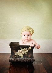 Beauty in Green (Shana Rae {Florabella Collection}) Tags: portrait baby flower green texture girl hat vintage knit naturallight planter prop 6monthsold florabella leightaylor nikond300 shanarae