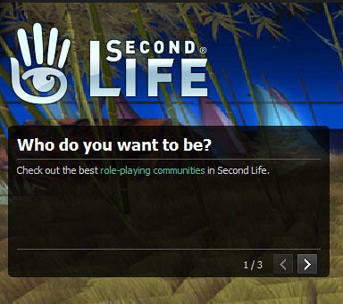 Second Life Login Screen