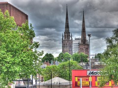 Holy Trinity & Old Cathedral Spires_Coventry_May11 (Ian Halsey) Tags: geotagged coventry citycentre hdr holytrinity oldcathedral imagesgooglecom coventrycathedral cv1 bishopstreet baiducom threespires flickriver daumnet machinemart flickr:user=ianhalsey copyright:owner=ianhalsey location:coventry=citycentre exif:model=panasoniclumixdmctz4 whattoseeincoventry qihoocom