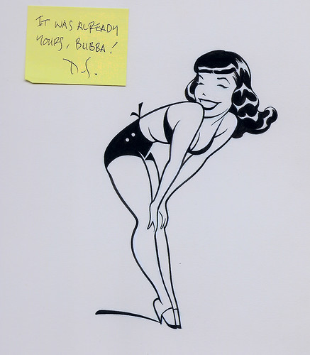 Dave Stevens Bettie Page cartoon