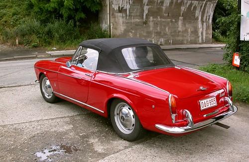Red old cabrio car in Havana
