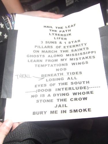 Set List del concierto de Down