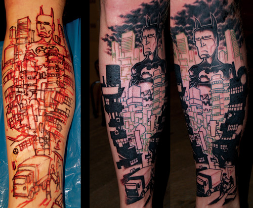 Batman leg tattoo by 96khz-cool design leg tattoo(batman-v8-stars