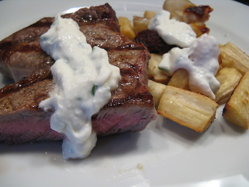 Grilled Steak & Roasted Sunchokes & Parsnips with Fresh Horseradish Cream