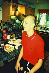 George the plumer (leoc27) Tags: colour kitchen tattoo xpro boots brother egg sandwich indoors homemade 400 skinhead canon3000n