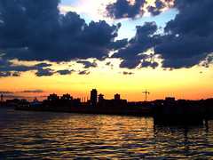 Gold coast (jglsongs) Tags: city blue light sunset orange reflection skyline buildings newjersey jerseycity skyscrapers riverside dusk waterside jerseycitynj 5photosaday blueribbonsforall
