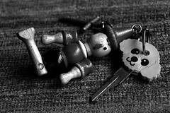 key (Kumatora) Tags: blackandwhite bw metal keys wooden key poodle cloth pinokio msh060819