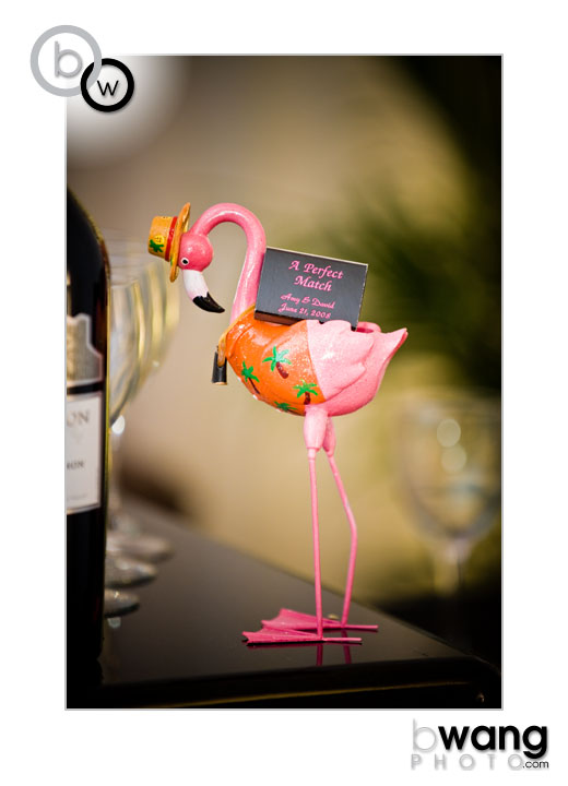 a happy accident, Dave's mom Diane picked up this flamingo a few years ago long before the wedding theme was set