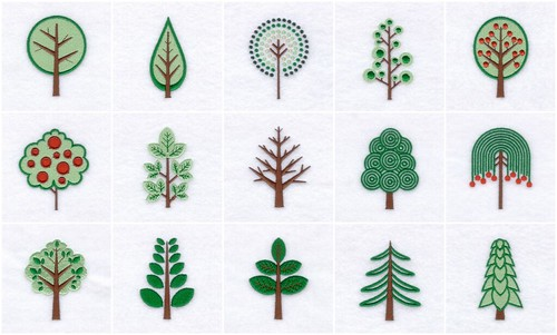 Retro Trees - Embroidery Designs 2