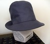 Hat #17:  Slate-blue cotton gabardine holiday hat!