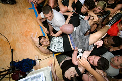Crowd Surfer falls onto the stage during Leftover Crack (konstantin sergeyev) Tags: nyc eastvillage newyork downtown stage lowereastside crowd loc riots tompkinssquarepark leftovercrack 20thanniversary chokingvictim
