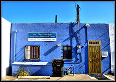 Yoga in the Alley ;-)) (Dominique Guillochon) Tags: california usa beach colors yoga wall trash gate shadows counter unitedstates sandiego bluesky beachlife pb electricity pacificbeach acupuncture trashbin pilates californiacoast irongate cielbleu singintheblues garnetavenue sandiegotrashbin