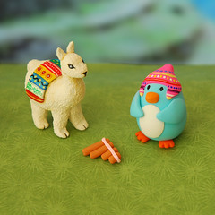 Pingie in Peru ({JooJoo}) Tags: blue peru inca toys penguin miniature colorful acrylic painted llama inka polymerclay etsy dollhouse joojoo sampona pcagoe