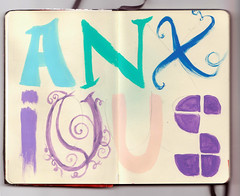 MLSKN 006: Cirrus (sullface) Tags: blue moleskine typography aqua paint purple diary letters sketchbook curly type block elegant typo anxious hotpink jrnal acyrlics typog anxiousandworryin