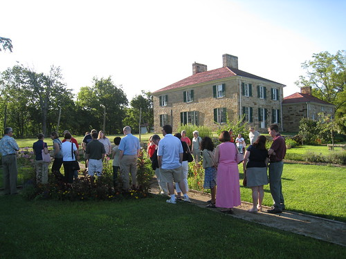 Touring the garden, with Adena Mansion in the background.