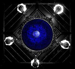 Deep blue too (Andy Sheridan) Tags: blue lookingup chandelier onblack stagshead