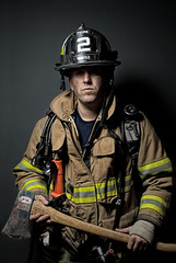 Jeff - City of Durham Engine #2 (www.brettarthurphoto.com) Tags: 2 orange jeff hat yellow dark grey nikon brother uncle father 28mm helmet husband raleigh jacket fireman axe flashlight service alienbee firefighter job softbox brettarthurphoto wwwbrettarthurphotocom