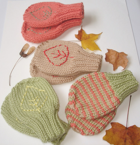 Falling Leaves Baby Mittens 045 by you.