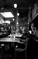 pag's for lunch (craig.dales) Tags: travel urban blackandwhite bw table bc chairs victoria waitress waiter restraunt pagliacci