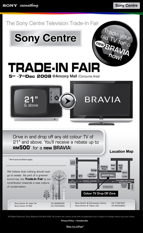The Sony Centre Television Trade-In Fair‏