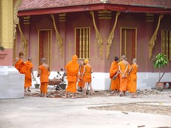 Monks doing construction work Luang Prabang