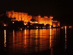Night Reflective (red_red_robyn) Tags: travel light sky orange india lake black reflection building water night palace backpacking rajasthan udaipur