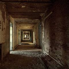 (hopefuldoubtful) Tags: light brick square decay plaster hallway dirt decayed doorways ruination physicalculturehotel