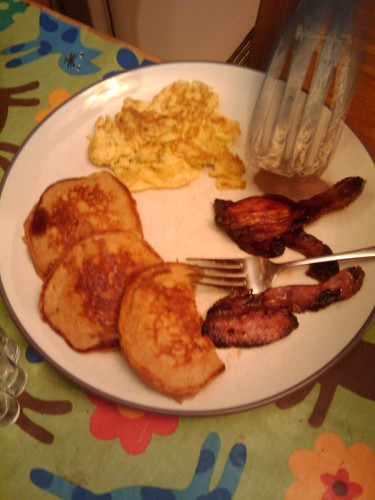 home cured bacon, local eggs, and pumpkin pancakes
