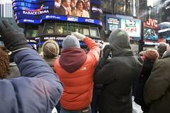 Times Square during Barack Obama's Inauguration as 44th President of the United States of America (tristanbrand) Tags: street city newyorkcity people urban usa newyork news history president unitedstatesofamerica january photojournalism presidential celebration event timessquare tuesday 2009 obama journalism inauguration journalist barack tristanbrand jan202009