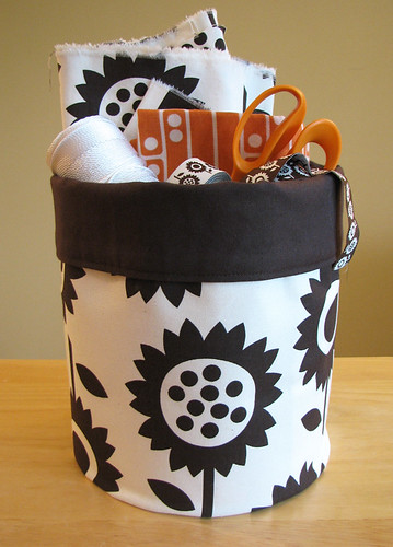 Sunflowers fabric storage bucket
