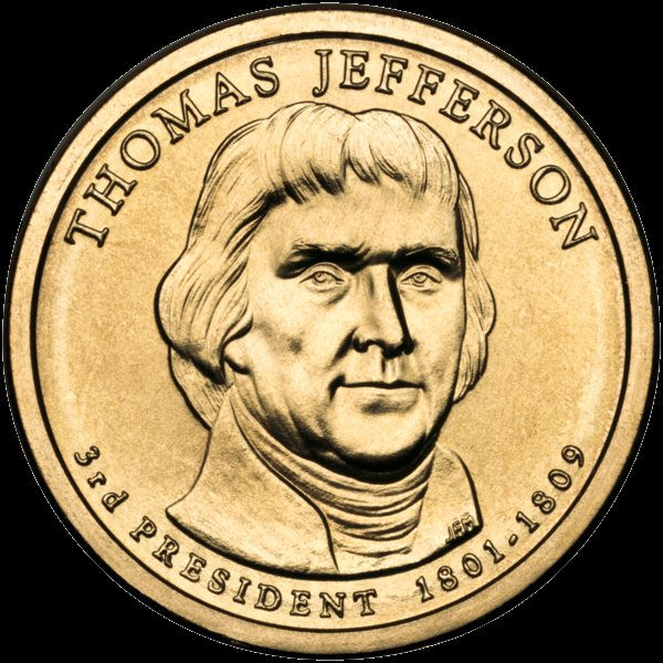 Thomas Jefferson Presidential $1 Coin — Third President, 1801-1809