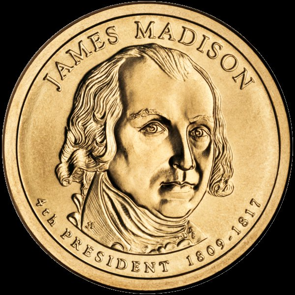 James Madison Presidential $1 Coin — Fourth President, 1809-1817