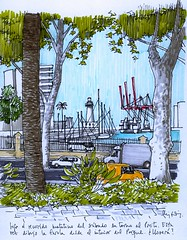Harbour 2, Mlaga (Luis_Ruiz) Tags: lighthouse architecture puerto sketch farola crane drawing malaga mlaga carnetdevoyage gra urbansketchers